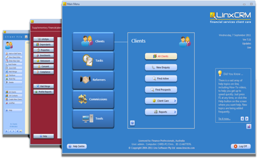 LinxCRM screenshots showing Main Menu, Financial Planning and Client record.